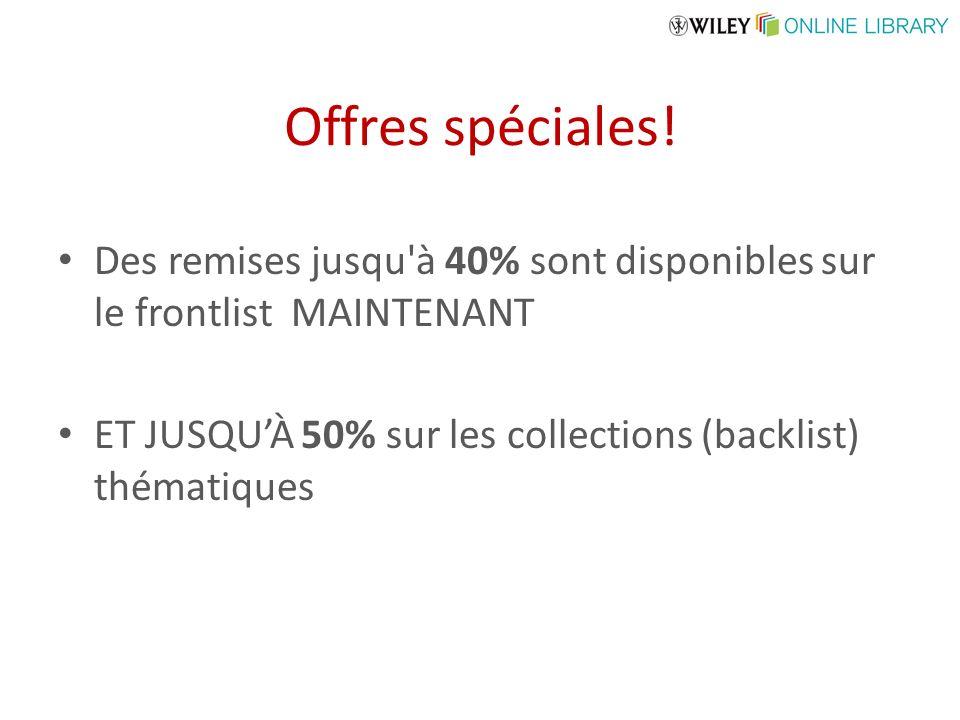 Offres spéciales! Des remises jusqu'à 40% sont disponibles sur le frontlist MAINTENANT ET JUSQUÀ 50% sur les collections (backlist) thématiques