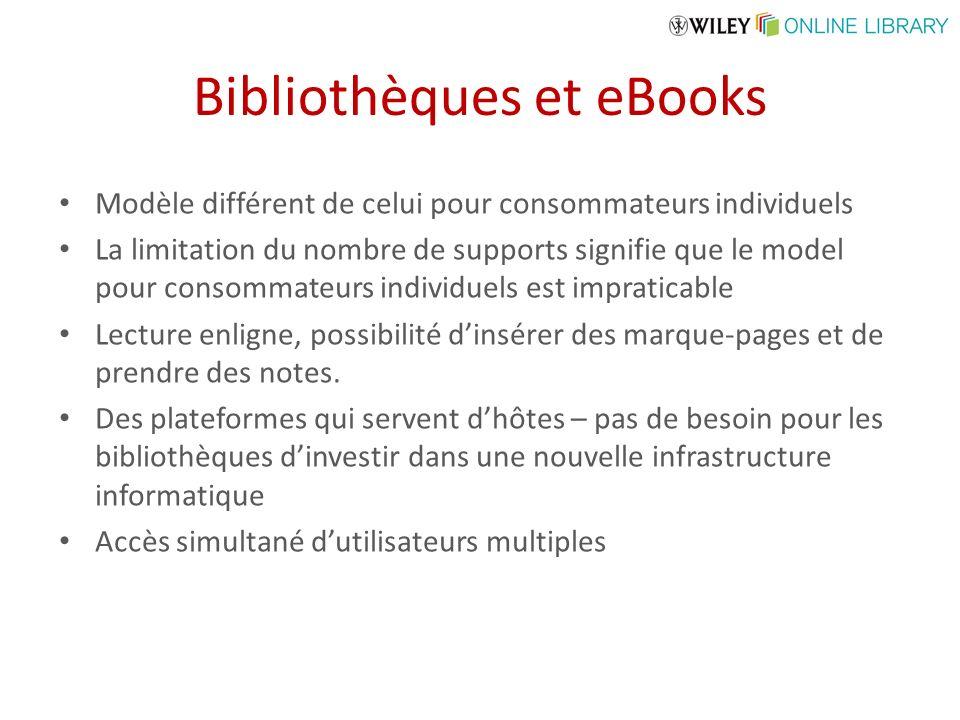 Bibliothèques et eBooks Modèle différent de celui pour consommateurs individuels La limitation du nombre de supports signifie que le model pour consom
