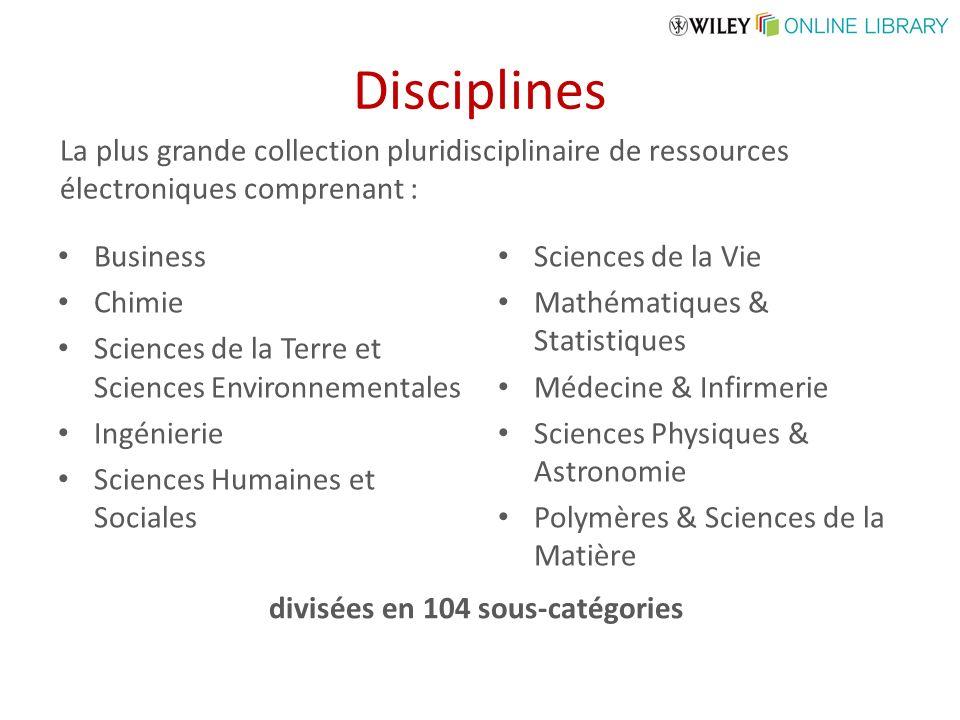 Disciplines Business Chimie Sciences de la Terre et Sciences Environnementales Ingénierie Sciences Humaines et Sociales Sciences de la Vie Mathématiqu