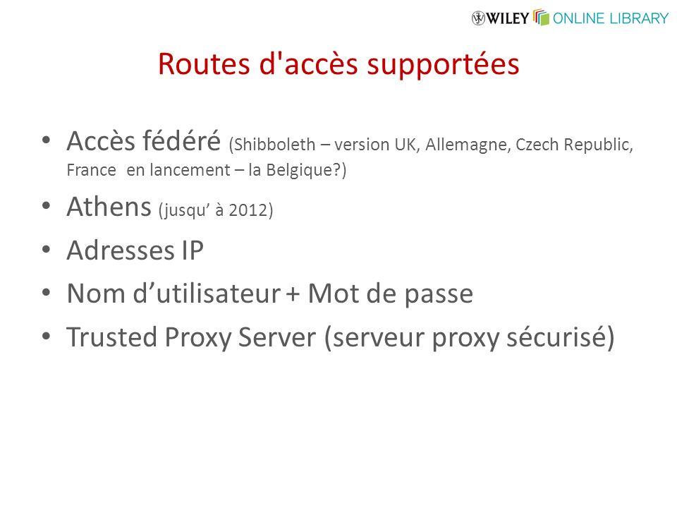 Routes d accès supportées Accès fédéré (Shibboleth – version UK, Allemagne, Czech Republic, France en lancement – la Belgique?) Athens (jusqu à 2012) Adresses IP Nom dutilisateur + Mot de passe Trusted Proxy Server (serveur proxy sécurisé)