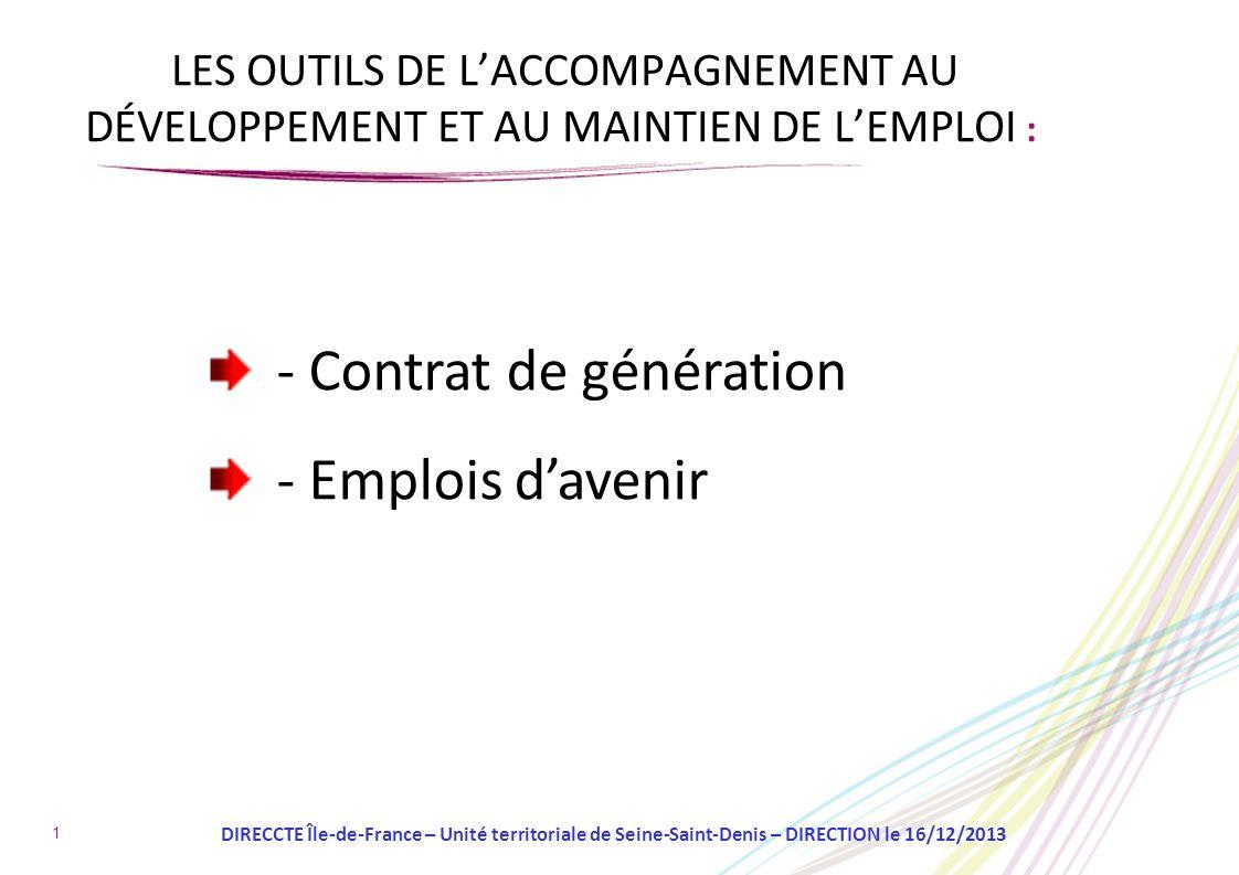 1 LES OUTILS DE LACCOMPAGNEMENT AU DÉVELOPPEMENT ET AU MAINTIEN DE LEMPLOI : - Contrat de génération - Emplois davenir DIRECCTE Île-de-France – Unité