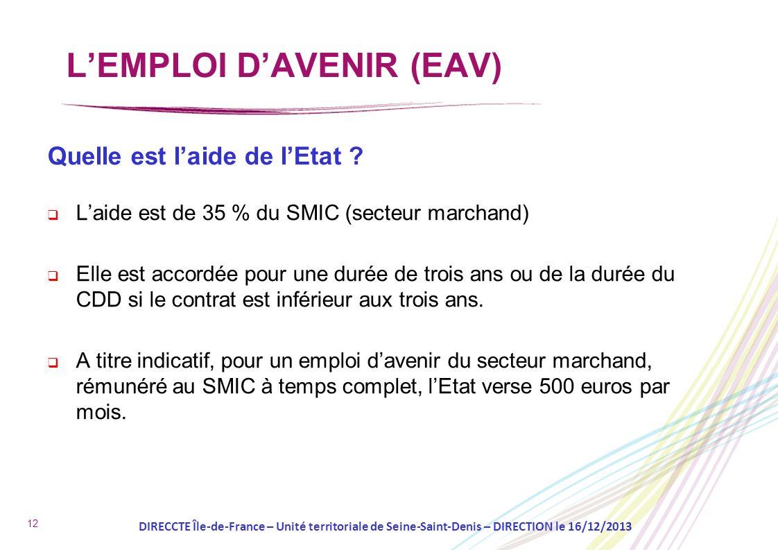 12 Quelle est laide de lEtat ? Laide est de 35 % du SMIC (secteur marchand) Elle est accordée pour une durée de trois ans ou de la durée du CDD si le