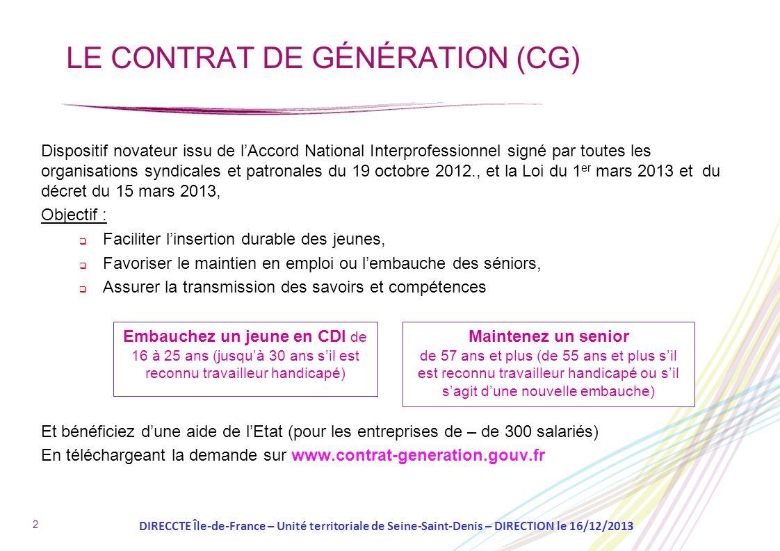 2 LE CONTRAT DE GÉNÉRATION (CG) Dispositif novateur issu de lAccord National Interprofessionnel signé par toutes les organisations syndicales et patro