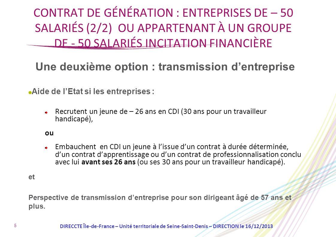 Une deuxième option : transmission dentreprise Aide de lEtat si les entreprises : Recrutent un jeune de – 26 ans en CDI (30 ans pour un travailleur ha