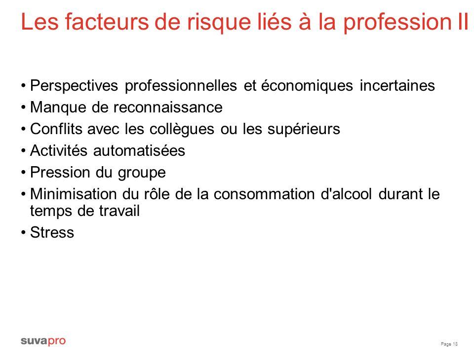 Page 18 Les facteurs de risque liés à la profession II Perspectives professionnelles et économiques incertaines Manque de reconnaissance Conflits avec