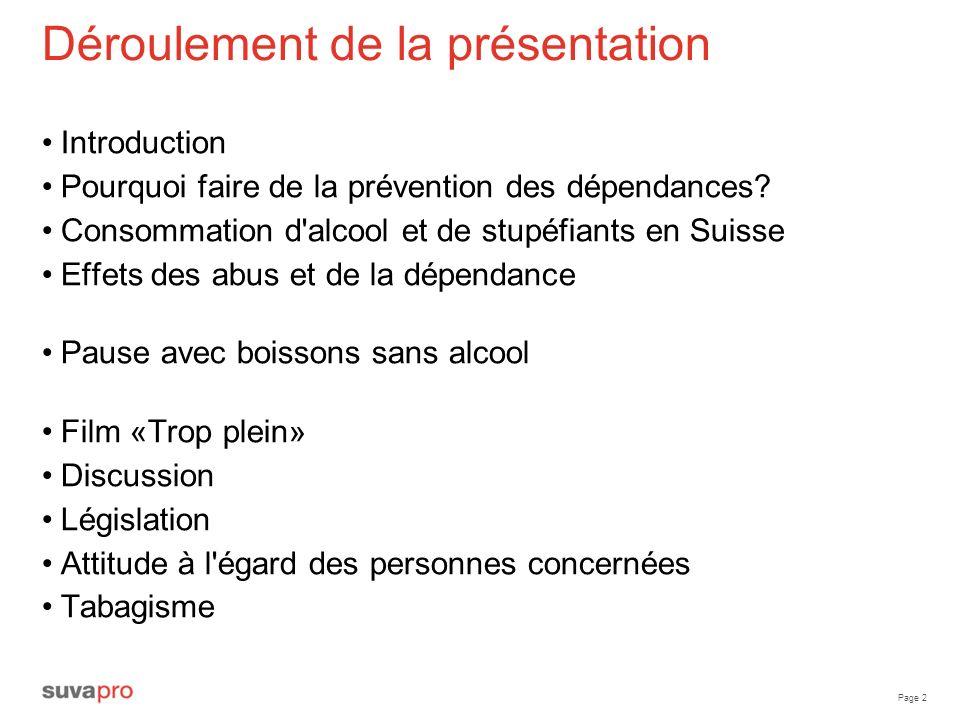 Page 2 Déroulement de la présentation Introduction Pourquoi faire de la prévention des dépendances? Consommation d'alcool et de stupéfiants en Suisse