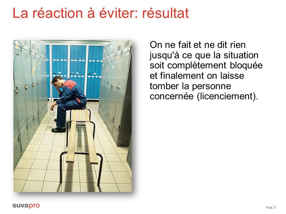 Page 20 La réaction à éviter: résultat On ne fait et ne dit rien jusqu'à ce que la situation soit complètement bloquée et finalement on laisse tomber