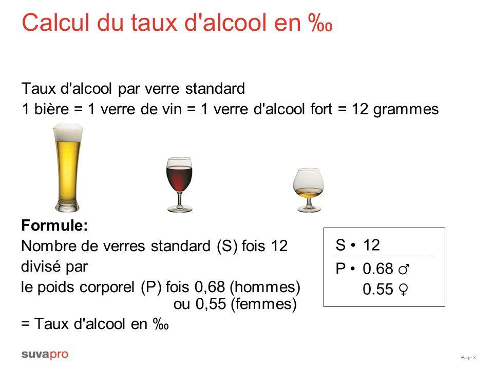 Page 8 Calcul du taux d'alcool en Taux d'alcool par verre standard 1 bière = 1 verre de vin = 1 verre d'alcool fort = 12 grammes Formule: Nombre de ve