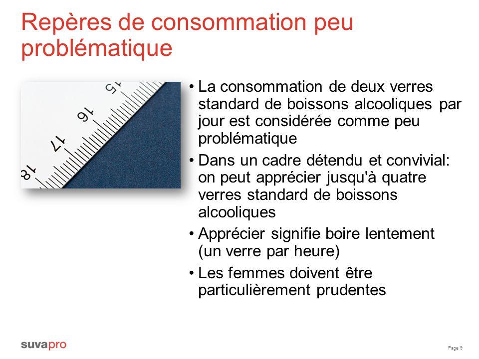 Page 9 Repères de consommation peu problématique La consommation de deux verres standard de boissons alcooliques par jour est considérée comme peu pro