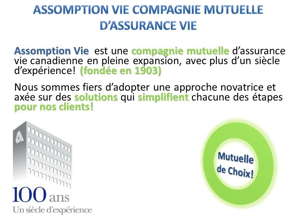 Assomption Vie compagnie mutuelle (fondée en 1903) Assomption Vie est une compagnie mutuelle dassurance vie canadienne en pleine expansion, avec plus