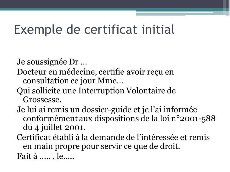 Exemple de certificat initial Je soussignée Dr … Docteur en médecine, certifie avoir reçu en consultation ce jour Mme… Qui sollicite une Interruption