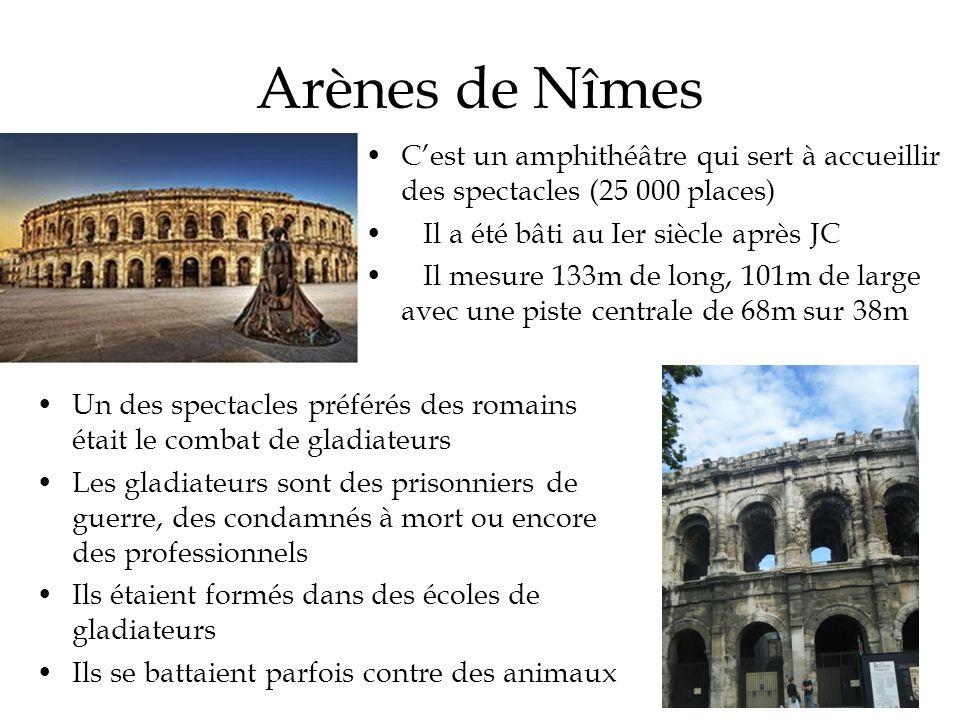 Arènes de Nîmes Un des spectacles préférés des romains était le combat de gladiateurs Les gladiateurs sont des prisonniers de guerre, des condamnés à