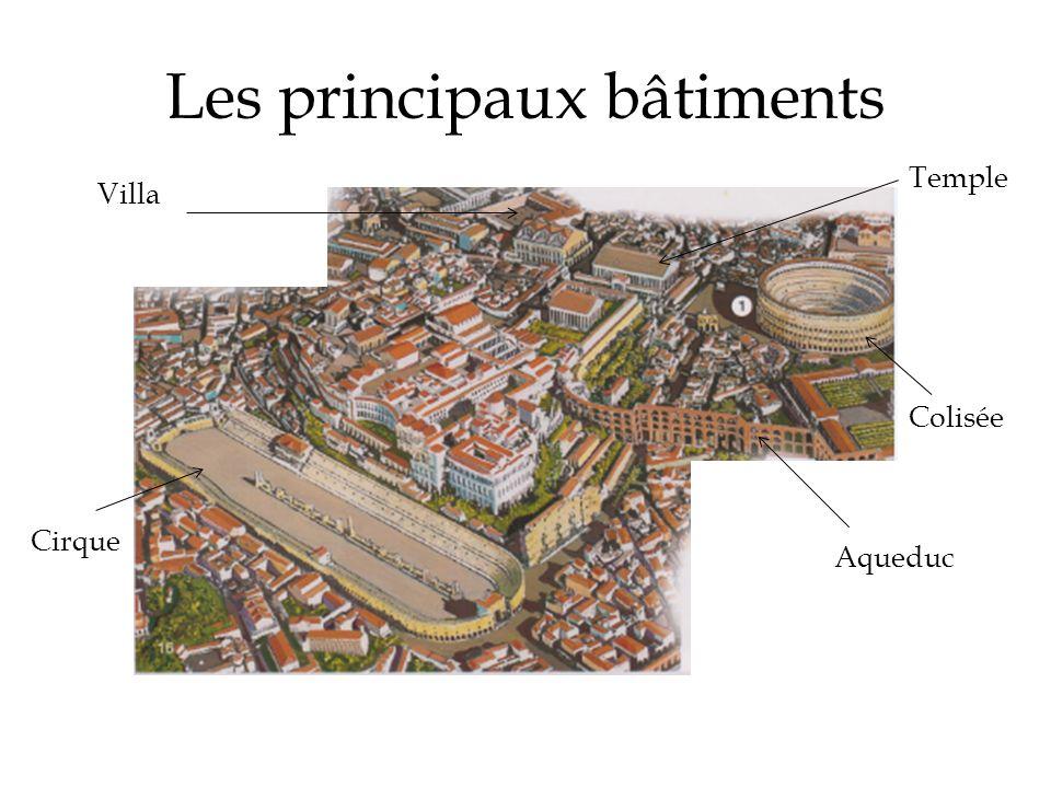 Les principaux bâtiments Colisée Cirque Aqueduc Villa Temple