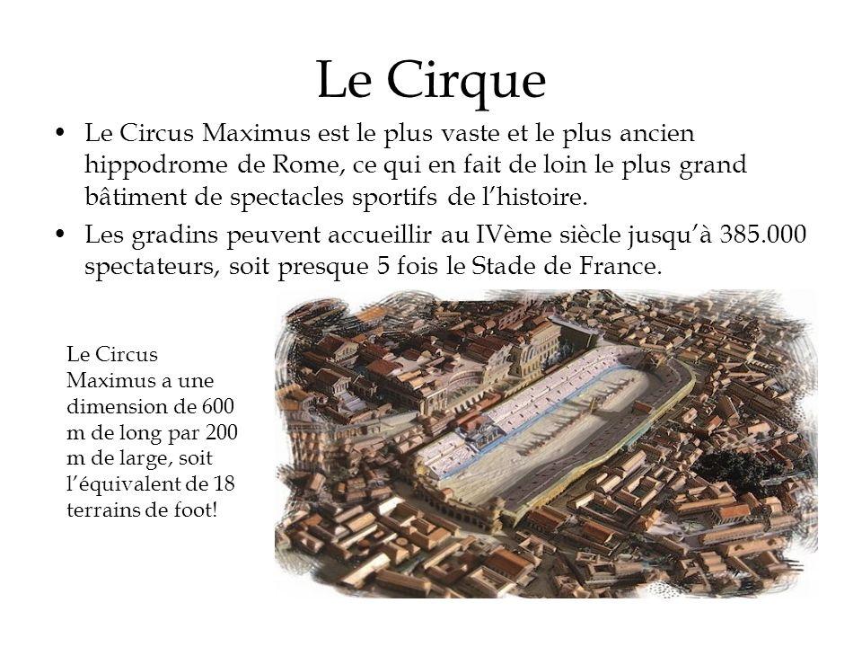 Le Cirque Le Circus Maximus est le plus vaste et le plus ancien hippodrome de Rome, ce qui en fait de loin le plus grand bâtiment de spectacles sporti