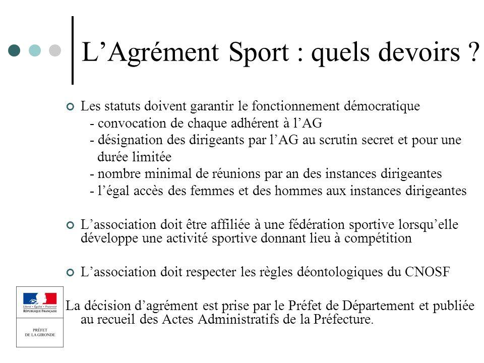 LAgrément Sport : quels devoirs ? Les statuts doivent garantir le fonctionnement démocratique - convocation de chaque adhérent à lAG - désignation des
