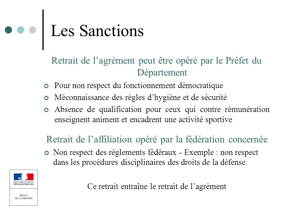 Les Sanctions Retrait de lagrément peut être opéré par le Préfet du Département Pour non respect du fonctionnement démocratique Méconnaissance des règ