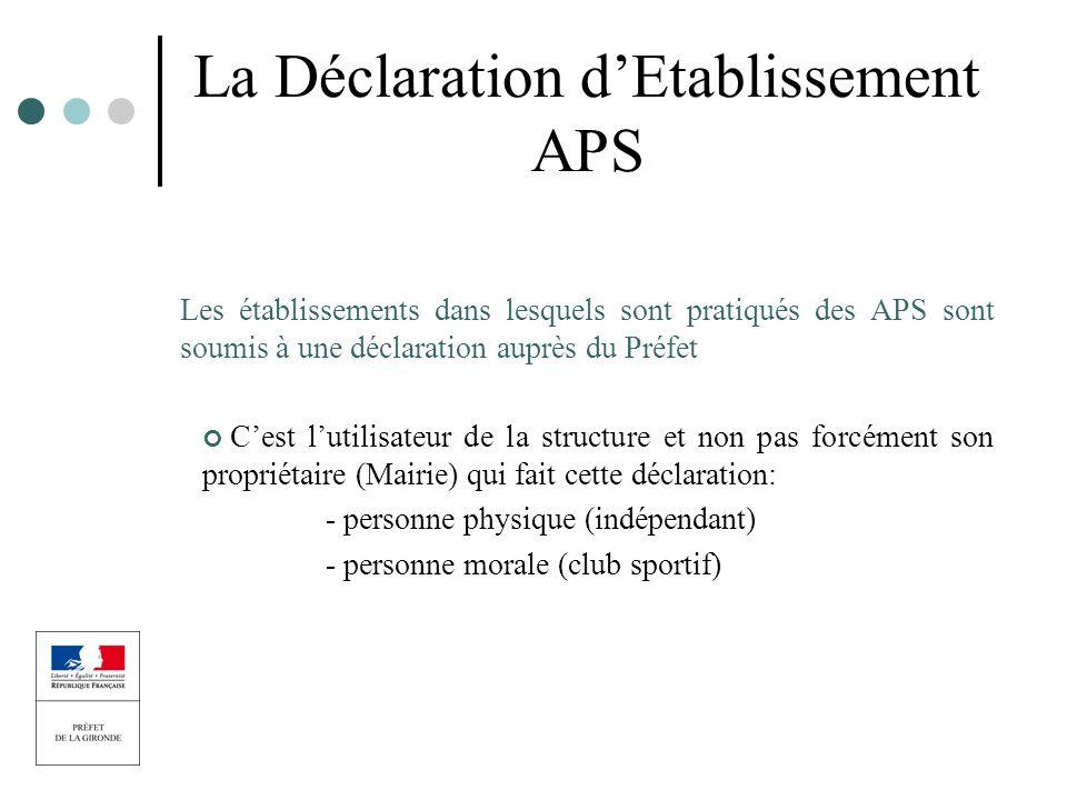 La Déclaration dEtablissement APS Les établissements dans lesquels sont pratiqués des APS sont soumis à une déclaration auprès du Préfet Cest lutilisa