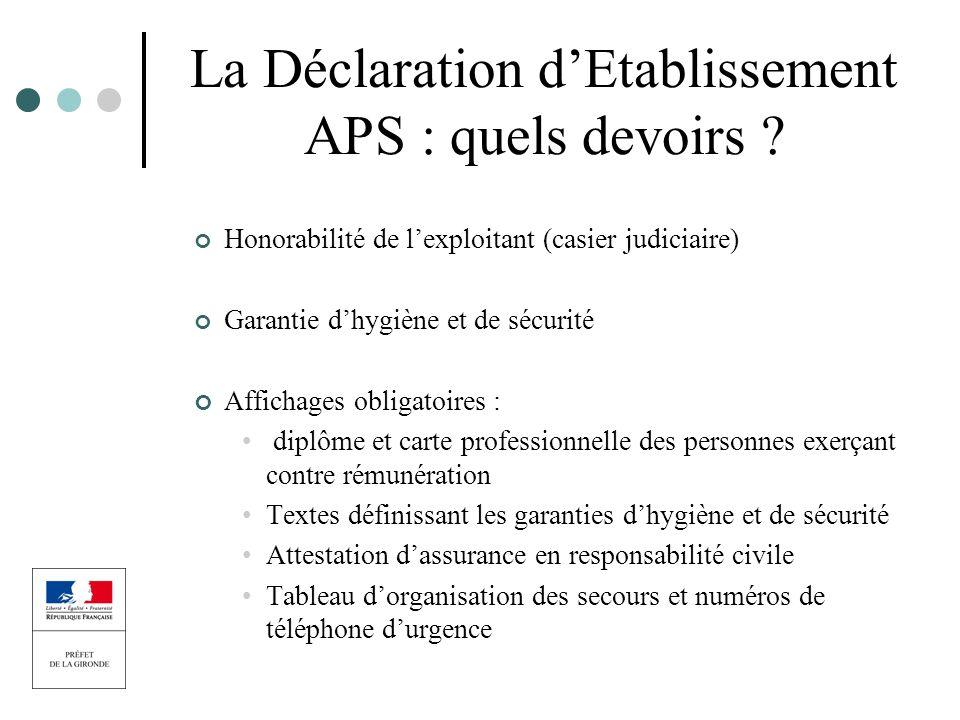 La Déclaration dEtablissement APS : quels devoirs ? Honorabilité de lexploitant (casier judiciaire) Garantie dhygiène et de sécurité Affichages obliga