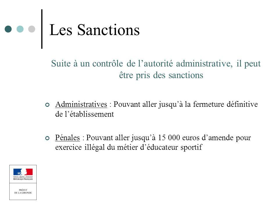 Les Sanctions Suite à un contrôle de lautorité administrative, il peut être pris des sanctions Administratives : Pouvant aller jusquà la fermeture déf