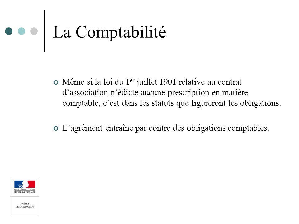 La Comptabilité Même si la loi du 1 er juillet 1901 relative au contrat dassociation nédicte aucune prescription en matière comptable, cest dans les s