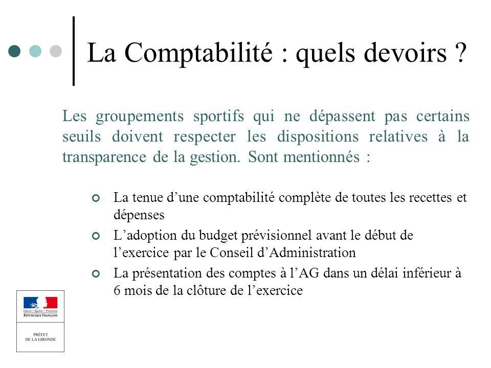 La Comptabilité : quels devoirs ? Les groupements sportifs qui ne dépassent pas certains seuils doivent respecter les dispositions relatives à la tran