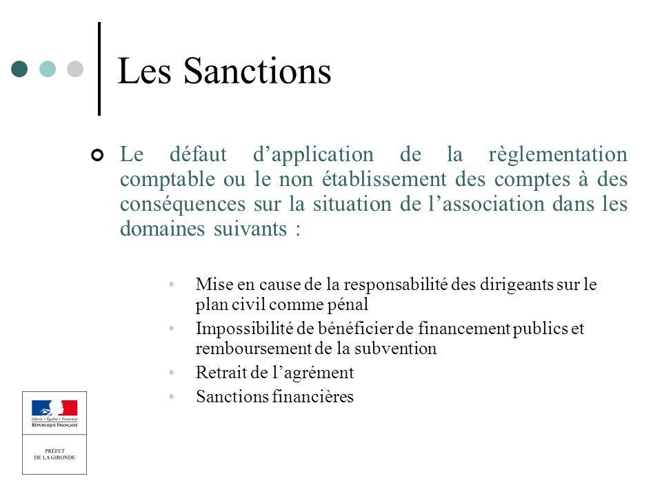 Les Sanctions Le défaut dapplication de la règlementation comptable ou le non établissement des comptes à des conséquences sur la situation de lassoci