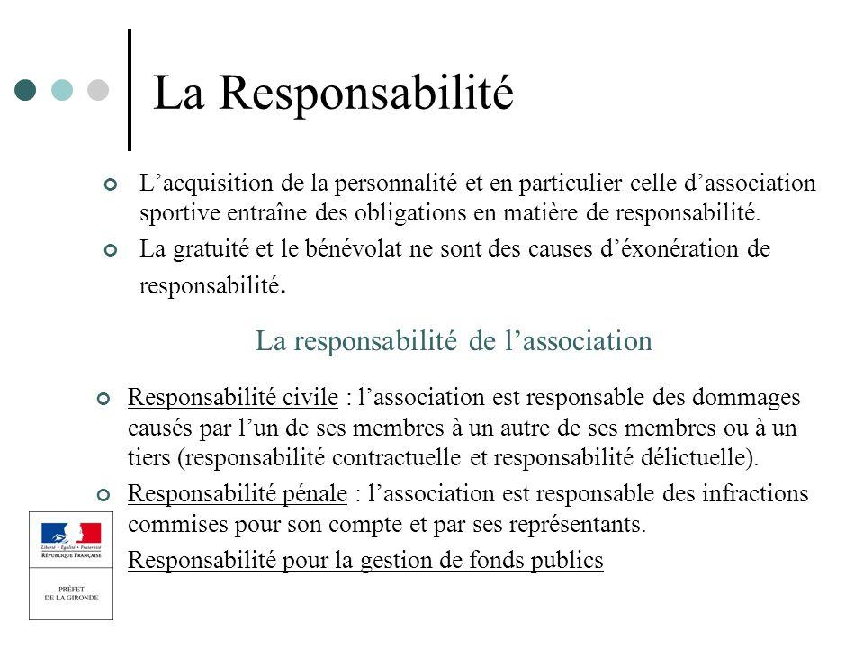 La Responsabilité Lacquisition de la personnalité et en particulier celle dassociation sportive entraîne des obligations en matière de responsabilité.