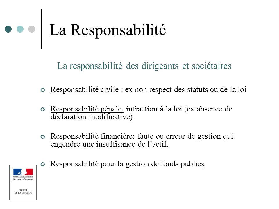 La Responsabilité La responsabilité des dirigeants et sociétaires Responsabilité civile : ex non respect des statuts ou de la loi Responsabilité pénal