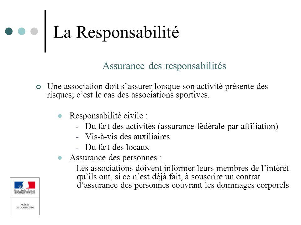 La Responsabilité Assurance des responsabilités Une association doit sassurer lorsque son activité présente des risques; cest le cas des associations