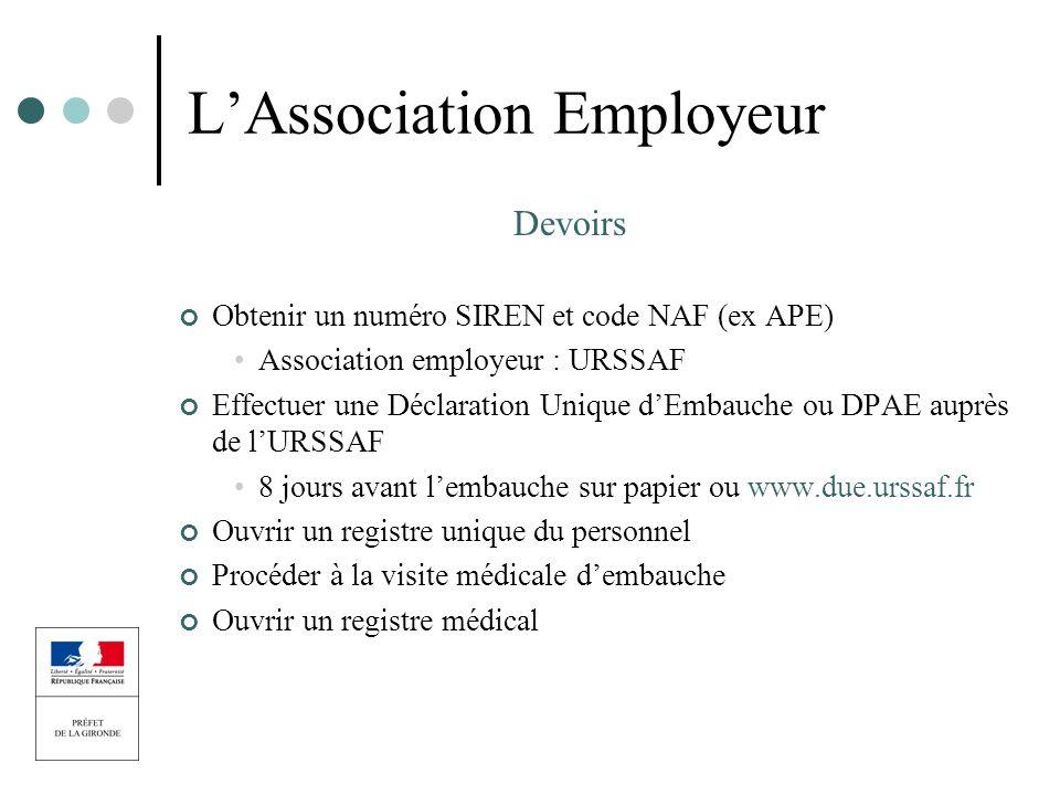 LAssociation Employeur Devoirs Obtenir un numéro SIREN et code NAF (ex APE) Association employeur : URSSAF Effectuer une Déclaration Unique dEmbauche