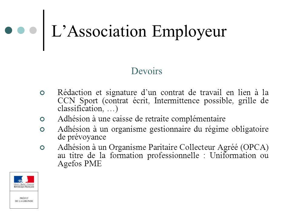 LAssociation Employeur Devoirs Rédaction et signature dun contrat de travail en lien à la CCN Sport (contrat écrit, Intermittence possible, grille de