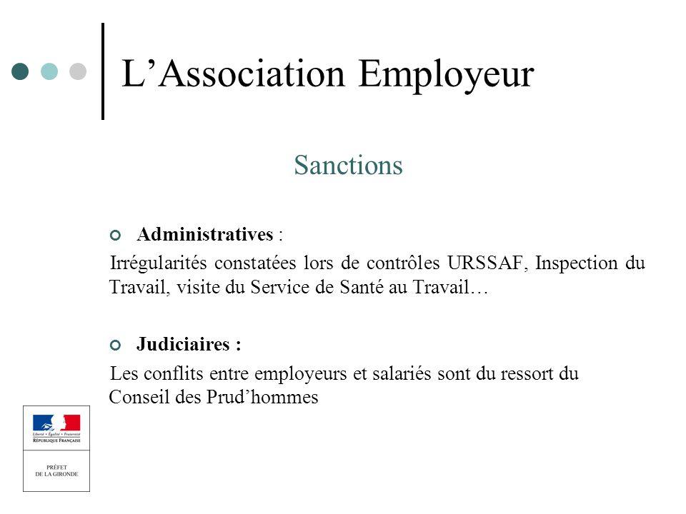 LAssociation Employeur Sanctions Administratives : Irrégularités constatées lors de contrôles URSSAF, Inspection du Travail, visite du Service de Sant