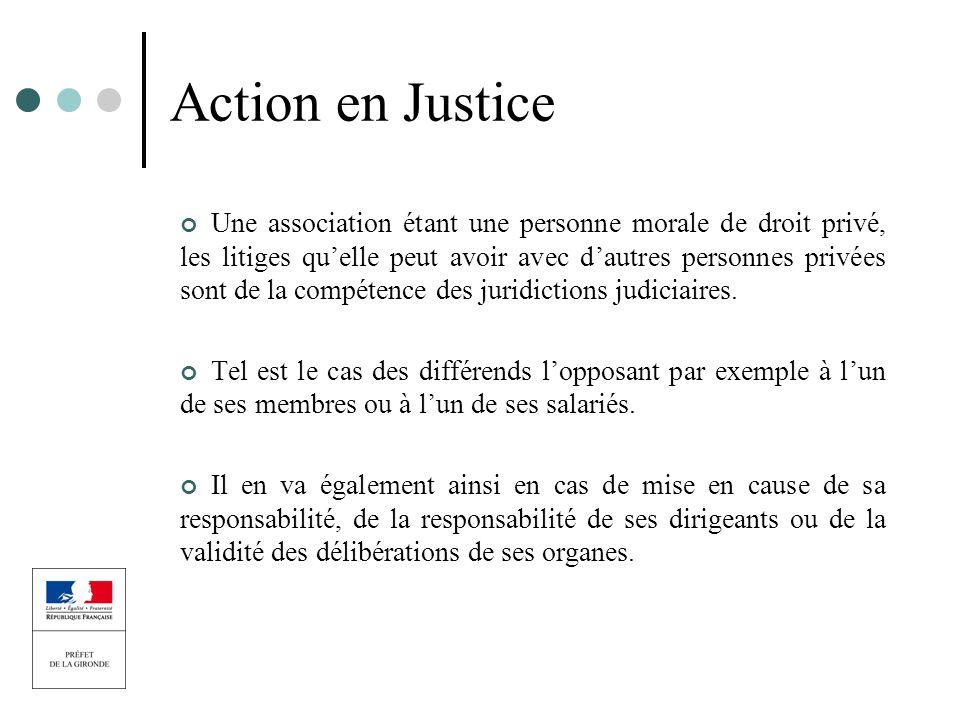 Action en Justice Une association étant une personne morale de droit privé, les litiges quelle peut avoir avec dautres personnes privées sont de la co