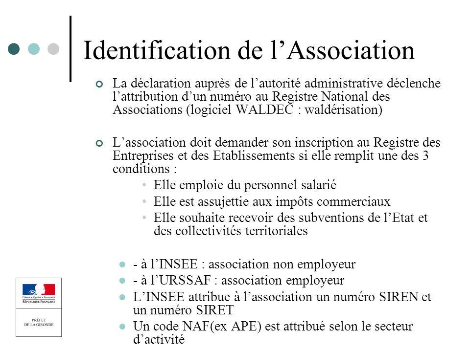 Identification de lAssociation La déclaration auprès de lautorité administrative déclenche lattribution dun numéro au Registre National des Associatio