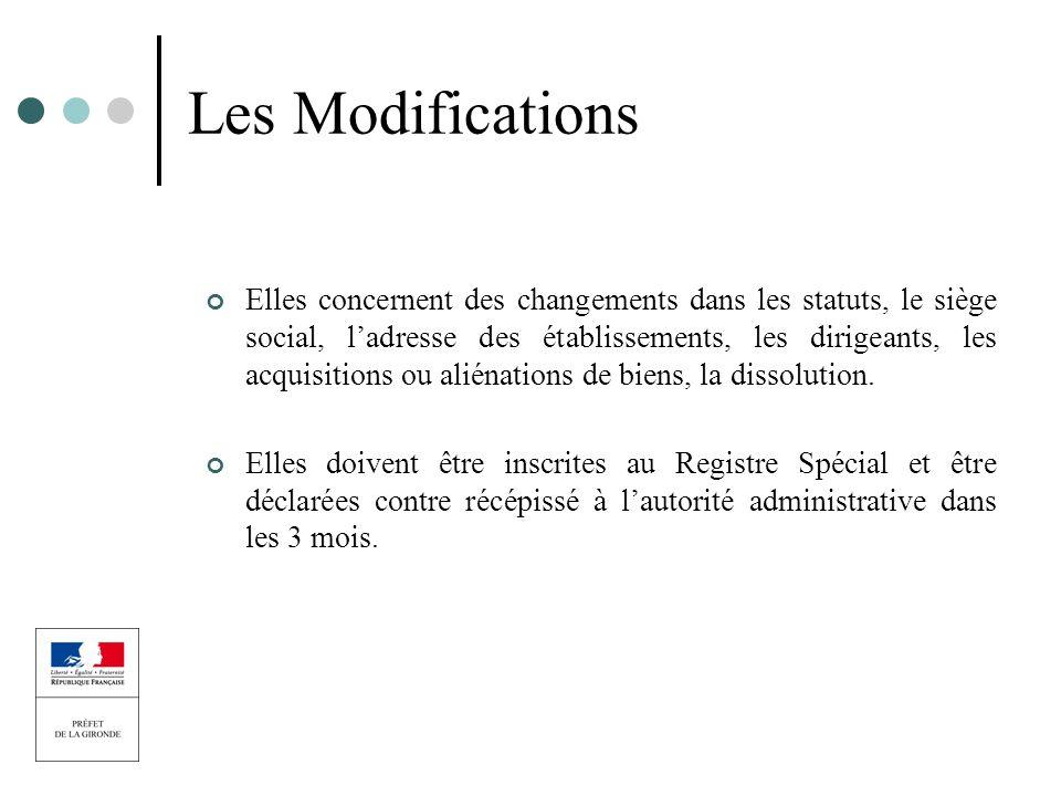 Les Modifications Elles concernent des changements dans les statuts, le siège social, ladresse des établissements, les dirigeants, les acquisitions ou