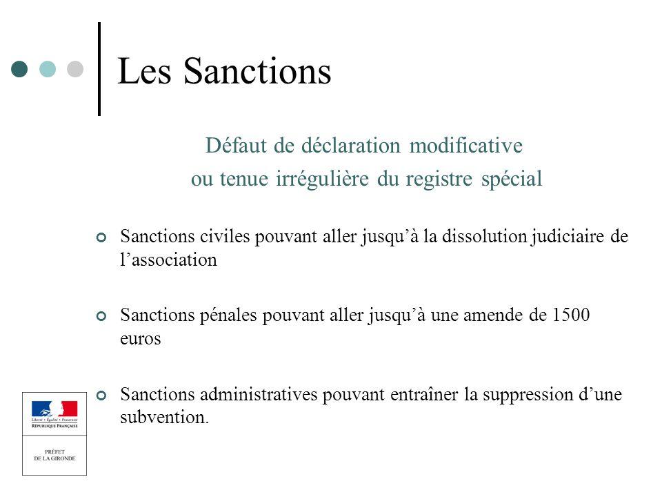 Les Sanctions Défaut de déclaration modificative ou tenue irrégulière du registre spécial Sanctions civiles pouvant aller jusquà la dissolution judici