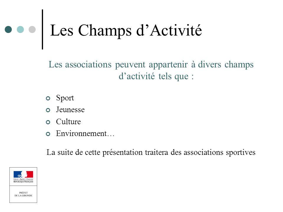 Les Champs dActivité Les associations peuvent appartenir à divers champs dactivité tels que : Sport Jeunesse Culture Environnement… La suite de cette