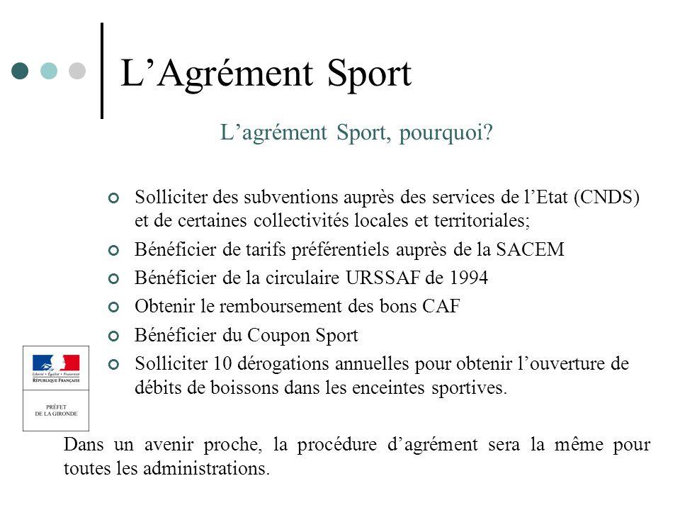 LAgrément Sport Lagrément Sport, pourquoi? Solliciter des subventions auprès des services de lEtat (CNDS) et de certaines collectivités locales et ter