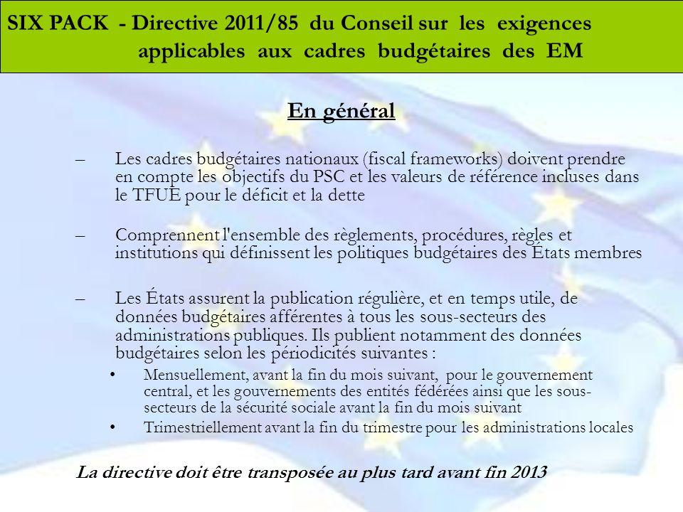 En général –Les cadres budgétaires nationaux (fiscal frameworks) doivent prendre en compte les objectifs du PSC et les valeurs de référence incluses d