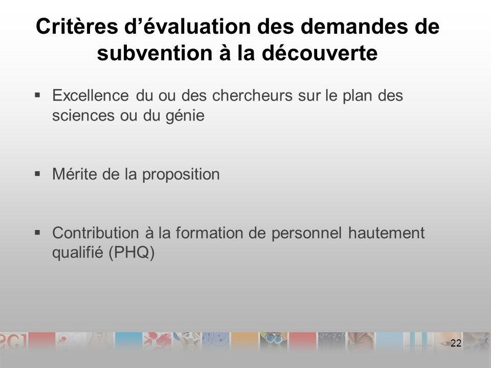 Critères dévaluation des demandes de subvention à la découverte Excellence du ou des chercheurs sur le plan des sciences ou du génie Mérite de la proposition Contribution à la formation de personnel hautement qualifié (PHQ) 22
