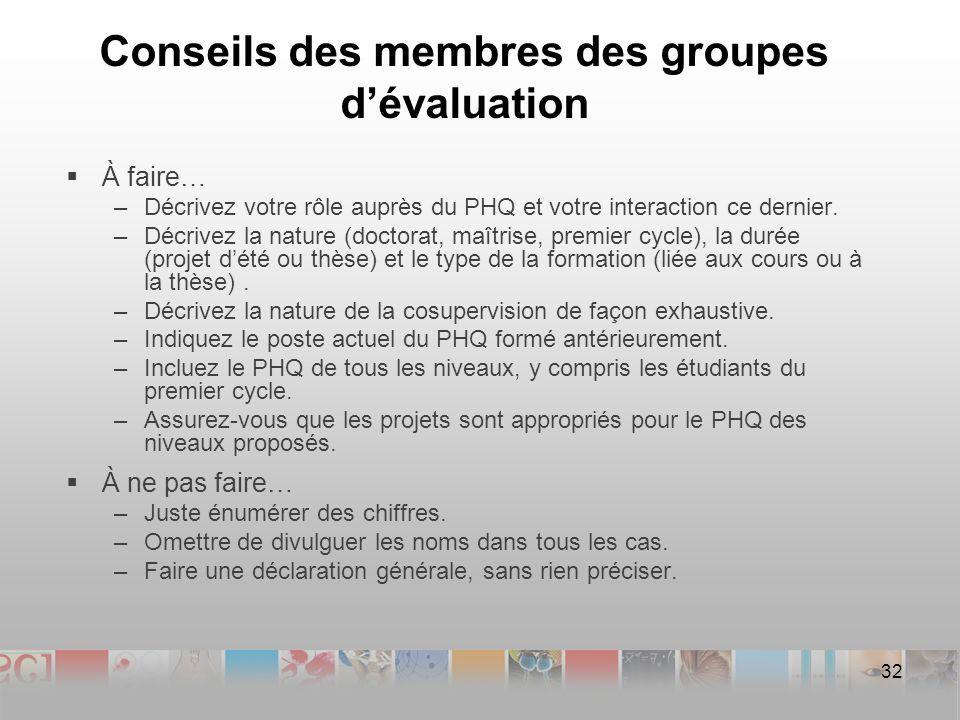 Conseils des membres des groupes dévaluation À faire… –Décrivez votre rôle auprès du PHQ et votre interaction ce dernier.
