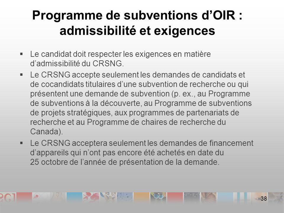 Programme de subventions dOIR : admissibilité et exigences Le candidat doit respecter les exigences en matière dadmissibilité du CRSNG.