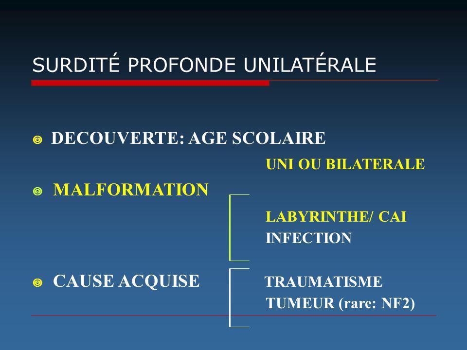 SURDITÉ PROFONDE UNILATÉRALE DECOUVERTE: AGE SCOLAIRE UNI OU BILATERALE MALFORMATION LABYRINTHE/ CAI INFECTION CAUSE ACQUISE TRAUMATISME TUMEUR (rare:
