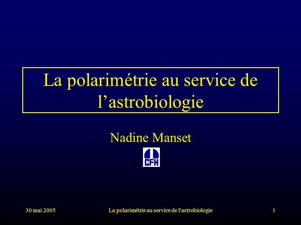 30 mai 2005La polarimétrie au service de l astrobiologie62 Conclusion lumière + organismes vivants polarisation circulaire