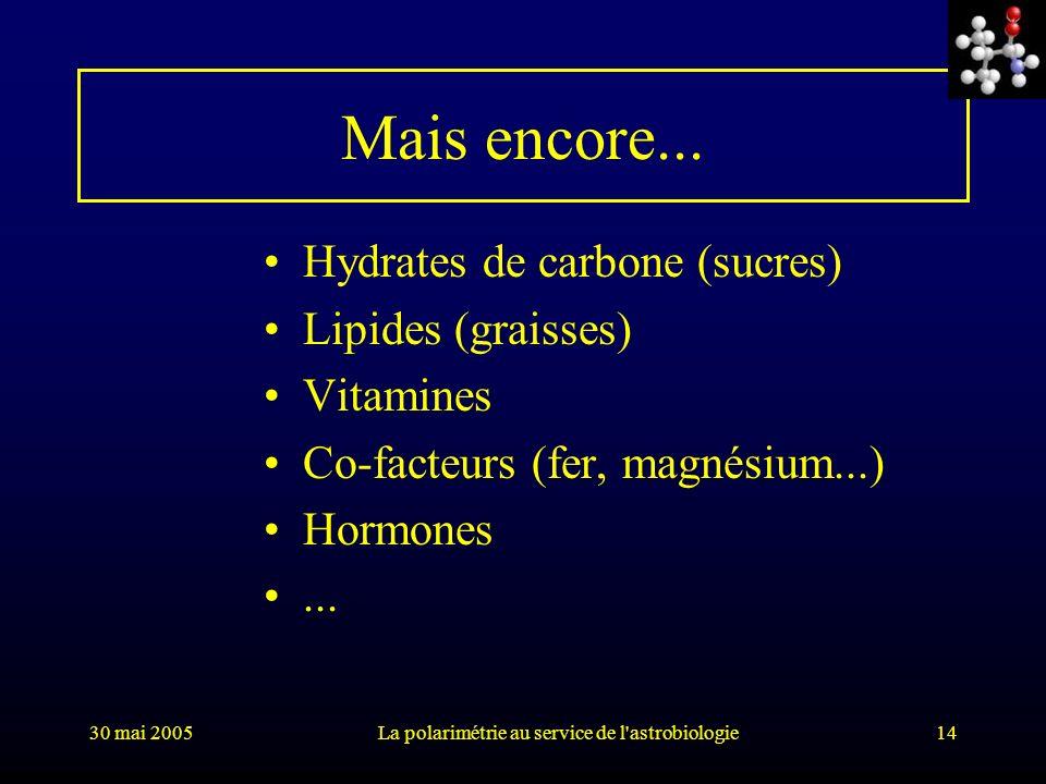 30 mai 2005La polarimétrie au service de l'astrobiologie14 Mais encore... Hydrates de carbone (sucres) Lipides (graisses) Vitamines Co-facteurs (fer,
