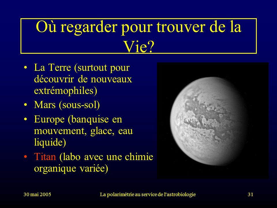 30 mai 2005La polarimétrie au service de l'astrobiologie31 Où regarder pour trouver de la Vie? La Terre (surtout pour découvrir de nouveaux extrémophi