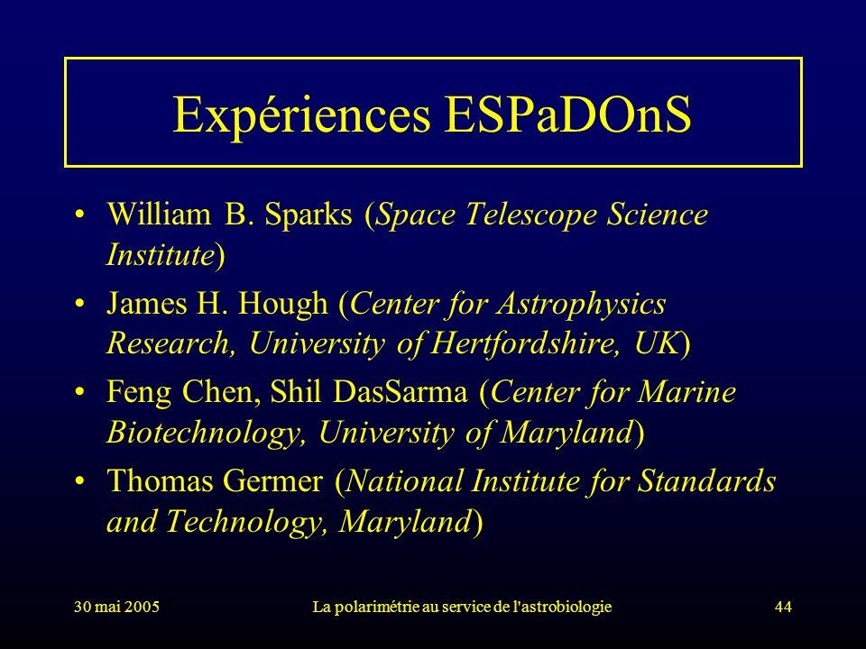 30 mai 2005La polarimétrie au service de l'astrobiologie44 Expériences ESPaDOnS William B. Sparks (Space Telescope Science Institute) James H. Hough (