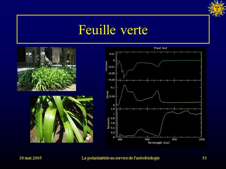 30 mai 2005La polarimétrie au service de l'astrobiologie53 Feuille verte