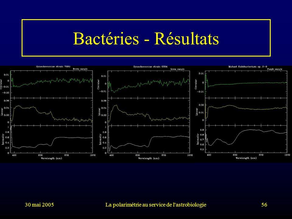 30 mai 2005La polarimétrie au service de l'astrobiologie56 Bactéries - Résultats