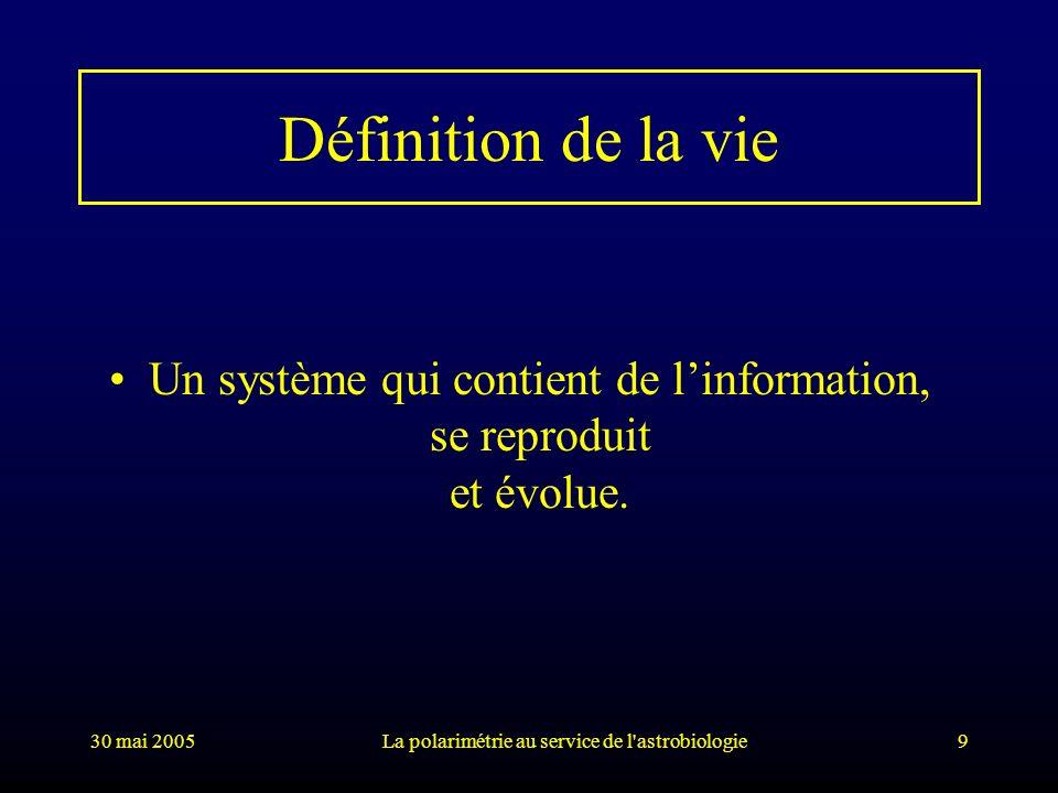 30 mai 2005La polarimétrie au service de l'astrobiologie9 Définition de la vie Un système qui contient de linformation, se reproduit et évolue.